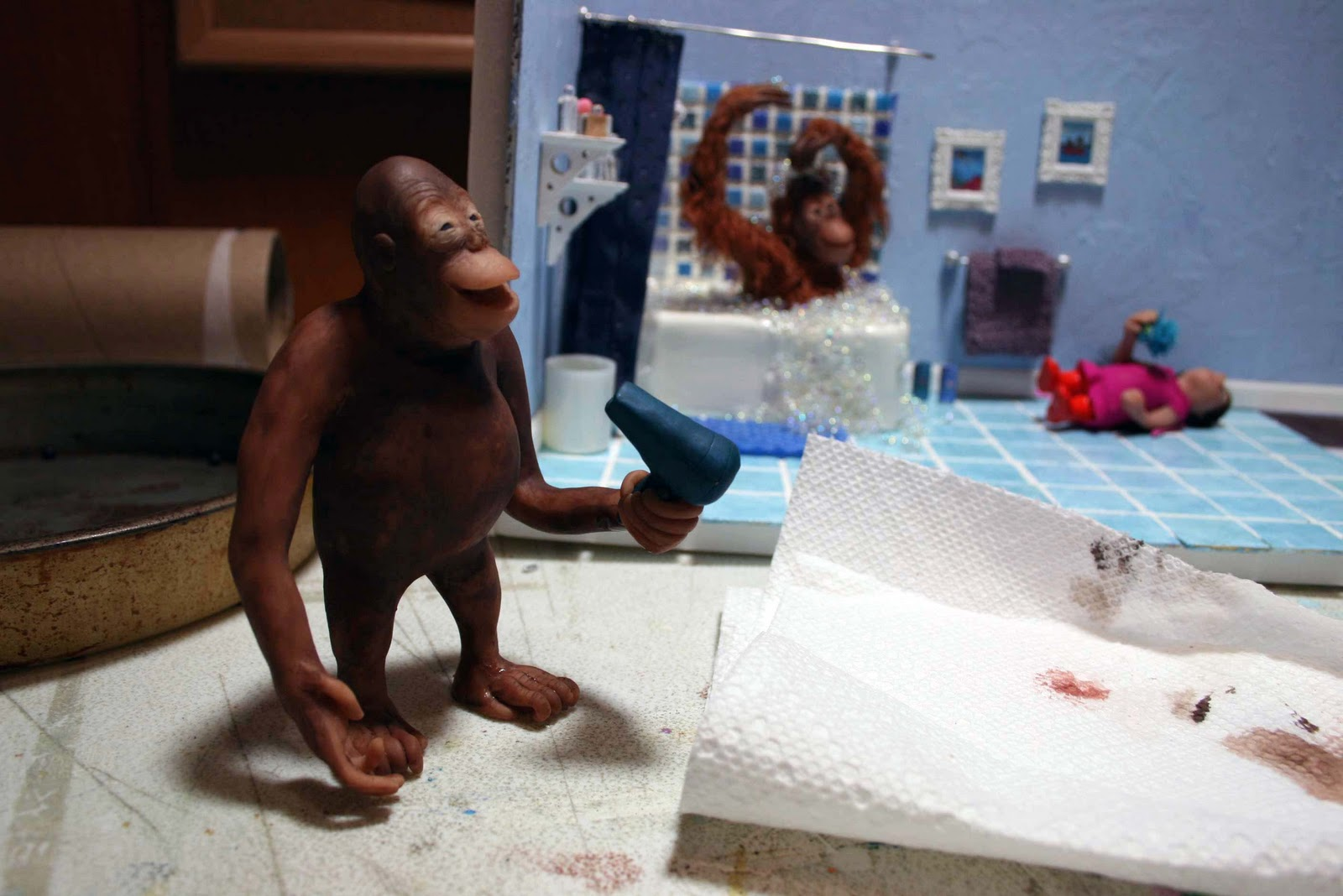 Baby Orangutan Bath