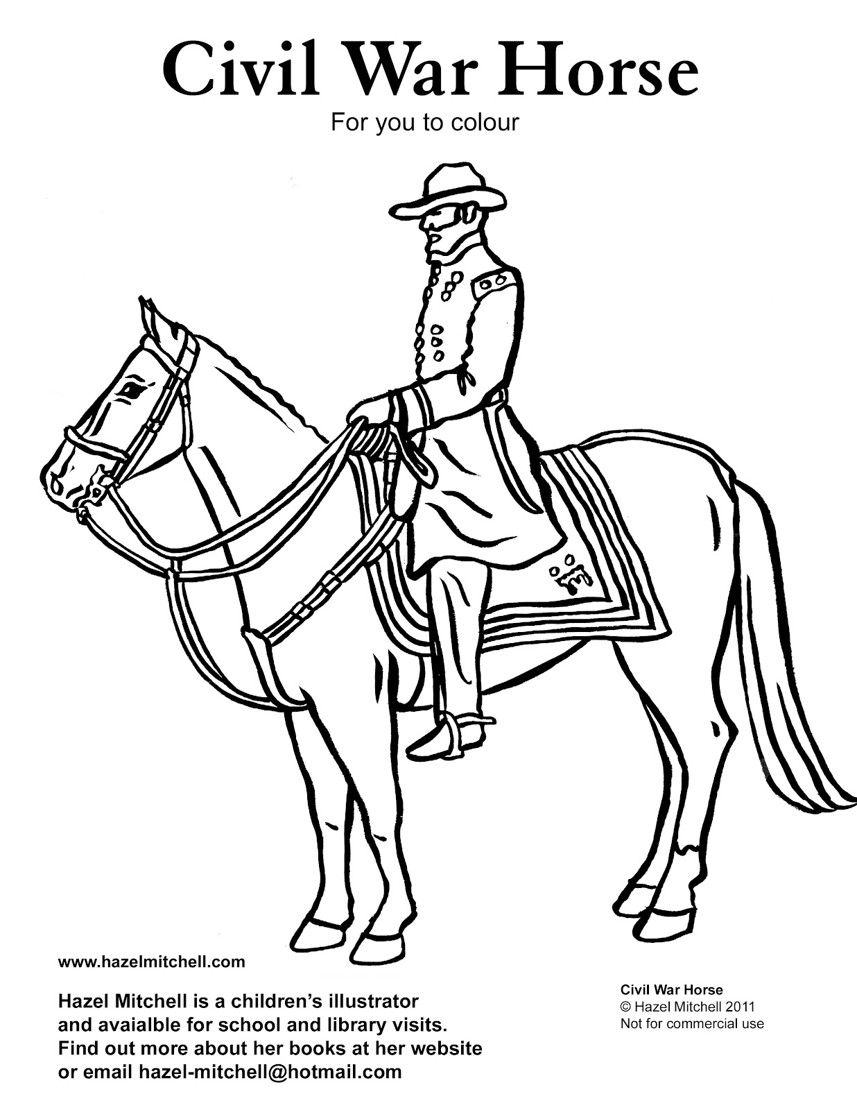 hazel mitchell colouring page for kids civil war horse nescbwi kidlit reblogger. Black Bedroom Furniture Sets. Home Design Ideas